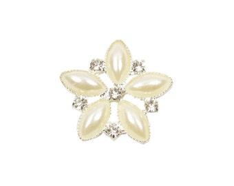 10 x Diamante and Pearl Flower Flat Back Embellishment, Wholesale Rhinestone Diamante Wedding Brooch Bouquet DIY Craft Supplies