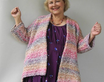 Crochet Cardigan, Crochet Cardigan Women, Crochet Jacket Cardigan, Chunky Cardigan, Rainbow Jacket, Available in S/M, L/Xl and 1X/2X