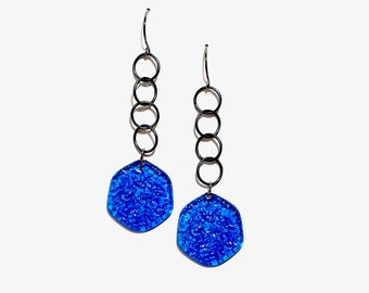 Aqua Blue Textured 'Stained Glass' Lucite Chain Drop Earrings   Vintage Lucite Statement Earrings