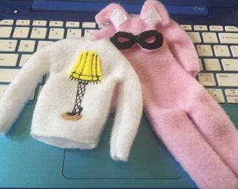 Christmas story pajamas. Chrismas story sweater. Elf pink bunny pajamas.pajamas. Fragile pajamas