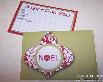 Noel - Gift Card Holder & Message Tag - PDF Printable File - Instant Digital Download