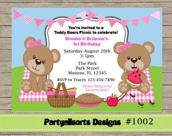 DIY - Picnic rosa/gemelos/niñas invitaciones de osito