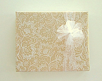 White Floral Lace on Kraft Wedding Wrapping Paper 10 ft x 24 inch Roll, Summer Gift Wrap, Bridal Shower Wrap