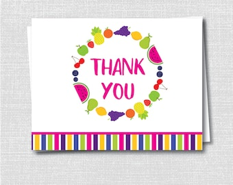 Fruit Thank You Note - Girl Stationery - Fruit Note - Folded Card - Thank You Note - INSTANT DOWNLOAD