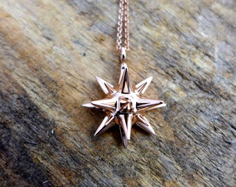 Moravian Star - Mathematical Jewelry - Geometric Christmas Star Pendant - Rose Gold Star Jewelry - Winter Holiday Gift for Her