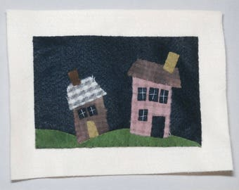 Two houses on a hill, wool applique