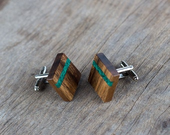 gift for men, WOODEN CUFFLINKS, Wedding Cufflinks, Groom Cufflinks, groomsmen cufflinks,  Square WALNUT with Malachite  inlay