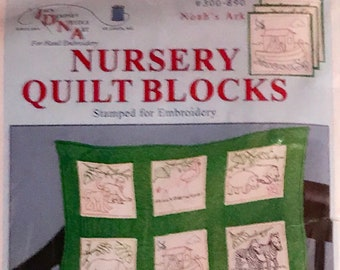 Nursery Noah's Ark Quilt Blocks Stamped for Embroidery