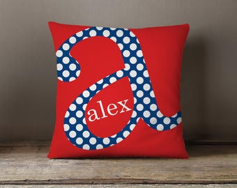 Pillow Dorm Pillow Personalized Initial Pillow By the Letter Dotty Monogram Initial