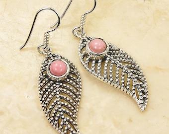 Leaf Earrings Pink Opal Earrings & Sterling Silver Dangle Earrings AE943 The Silver Plaza
