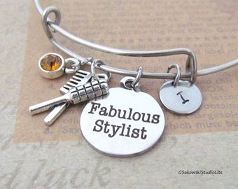 Fabulous Stylist Hair Comb and Brush Personalized Hand Stamped Initial Birthstone Silver Hairdresser Charm Stainless Steel Expandable Bangle
