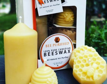 Beeswax Candle Gift Box- 100% Natural Candles - Non-Toxic Candles- Allergy and Asthma Friendly Candles – Natural Gift- Christmas Gift Box