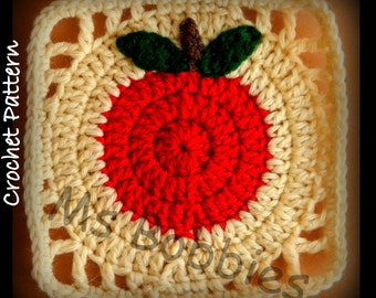 Apple Granny Square - Crochet - Pattern - PDF 06101920  - Afghan Square