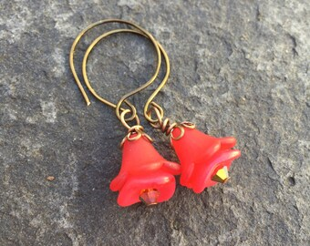 Red Roses Lucite and Czech Glass Beads Dainty Dangle Earrings     Romantic Jewelry  Boho Jewelry