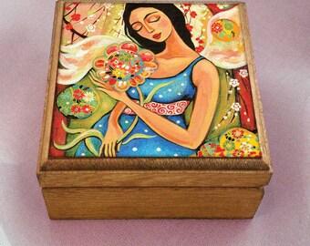 maternity art, pregnancy art, motherhood art, mother box, mother and child, keepsake box, christian box, jewelry box, 3.5x3.5+