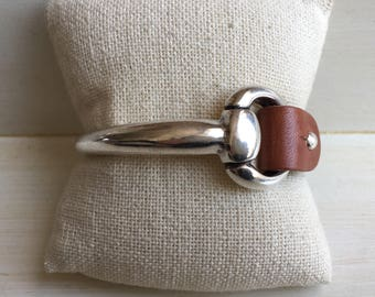 SMALL leather SNAFFLE BIT cuff bracelet   cognac brown   snaffle bit cuff   cuff bracelet   leather bracelet