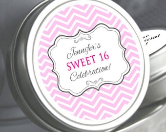 "12 Sweet 16 Fancy Badge Pink Chevron Birthday Mint Tins   - Select the quantity you need below in the ""Pricing & Quantity"" option tab"