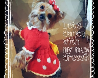Sweaters For Dogs-Minnie Mouse Dog Dress-Dog Sweater-Holiday Dog Warm Sweater-Dog Coat Outfit-Dog Clothing-Dog Clothes-Dress For Small Dog