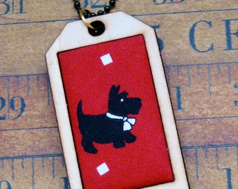 Scotty dog Mini Tag Pendant Necklace - fabric wood RED