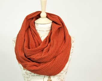 Orange Infinity Scarf, Burnt Orange, Beauty Gift Ribbed Knit Winter Scarf Girlfriend Gift Wife Womens  Scarves Clothing Gift for Her