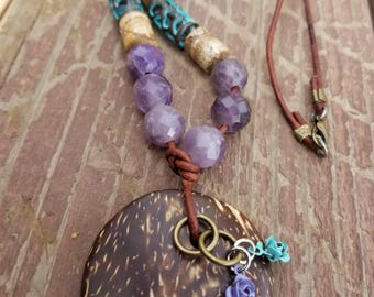 Amethyst, turquoise, jasper, and coconut necklace diffuser