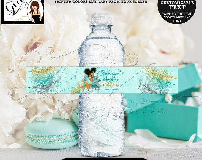"""Baby Shower Water Bottle Labels Turquoise Gold & Silver African American baby girl, bows diamonds pearls. {8x1.5""""/6 Per Sheet} Gvites"""