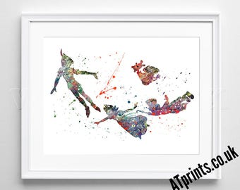 Watercolor Poster - Print - Watercolour Print - Wall Art - Canvas - Gift Idea - Framed - Picture- Disney