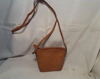 Vintage 1980's Brown Leather Handbag Shoulder Bag- Small Size - NEW