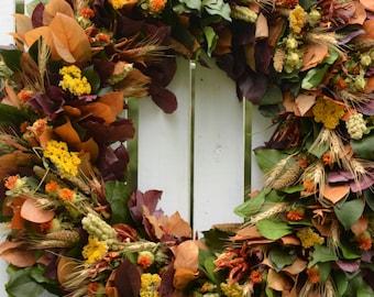 "Fall Harvest Wreath, 30"", Large Fall Wreath, preserved wreath,  fall wreath, purple, harvest, autumn wreath, fall decor, Thanksgiving Wreath"