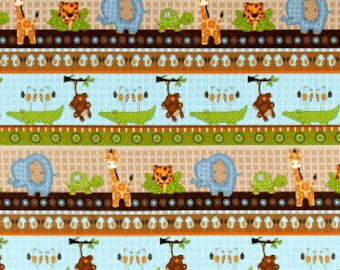 Jungle Animal Flannel Fabric, Fabric By The Yard, Fabric BTY,  elephant fabric, Flannel Fabric,  Quilting Fabric, Baby Fabric