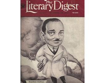 Literary Digest Magazine, October 28, 1933, Englebert DollFuss Cover