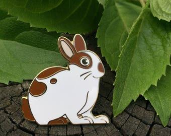 BIG SALE Hudson the Bun Bun lapel enamel pin , Rabbit Jewelry Rabbit Brooch