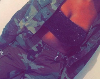 Glitter Army Fatigue Camo Jacket