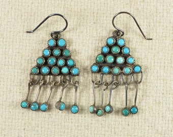 Native American Antique Zuni Snake Eye Dangle Earrings