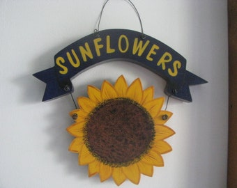 Sunflower wall decor, sunflower wall hanging, hanging sunflowers, gift for her, hostess gift, summer tole paining decor