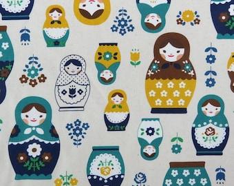 2632A -- Retro Kawaii Matryoshka Doll Fabric in Yellow/Green Combo, Russian Doll Fabric, Babushka Fabric, Doll Fabric