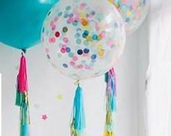 Custom confetti Balloon with tassel garland tail.Confetti balloon,Custom balloon,Tassel tail balloon,Tassel balloon,Clear confetti balloon