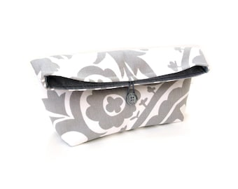 Fold over clutch bag, pouch purse, grey white floral cotton bag, button closure, everyday clutch