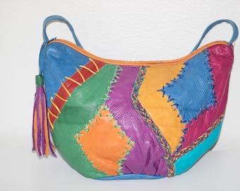 Vintage 80's Colorful Leather Handbag