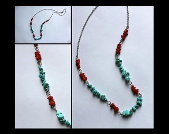 Turquoise and red stone necklace