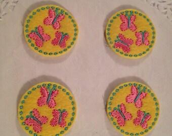 Cute Yellow  embroidered wool felt Butterflies  Cutie marks- set of 4