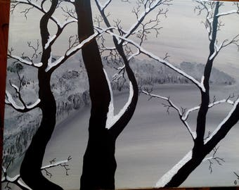 In the winter trees acrylic painting