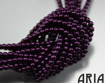 PURPLE SATIN: 2mm Czech Glass Pearl Beads (150 beads per strand)