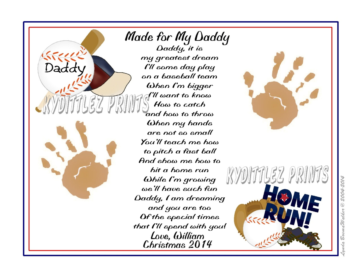 Daddy teach me baseball poem 8 x 10 personalized print zoom negle Gallery