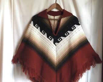 Vintage 70s, 1970s hippy poncho, boho southwest, knit poncho, ombre, fringe, sweater cape, M