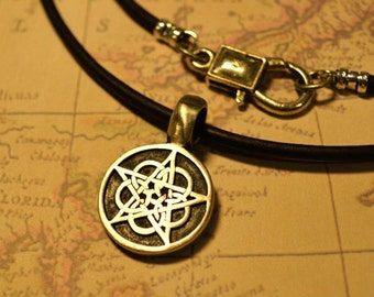 Free Shipping, Leather Necklace, Celtic Star, Mens Necklace, Mens Jewelry, Mens Gift, Pendant, Distresed Cord