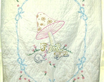 Baby Quilt Vintage. Embroidered Baby Quilt. Nursery Wall Hanging. Crib Quilt. Mushroom, Sleeping Baby, Cat, Dog. Vintage Handmade.
