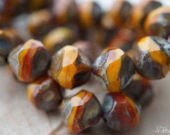 Rustic Orange, Czech Beads, Beads, B22-1