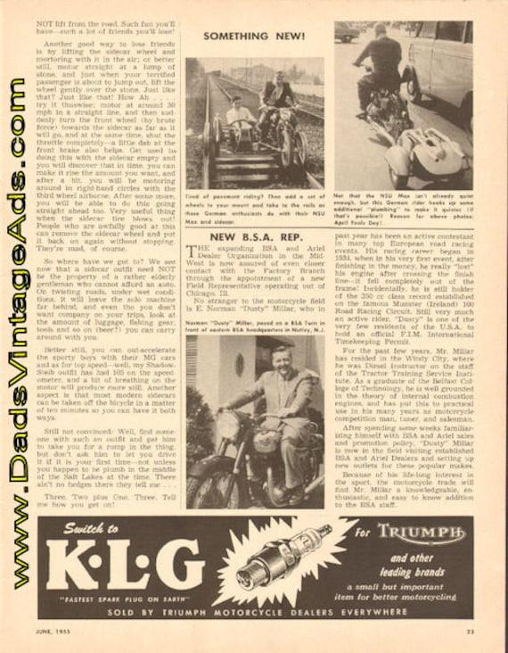 1955 New BSA Representative E. Norman ''Dusty'' Millar 1-Page Article #t55fa04