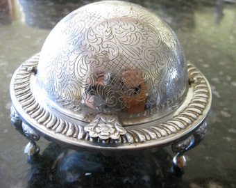 English Dome Shaped Caviar Butter Footed Server Roll Top